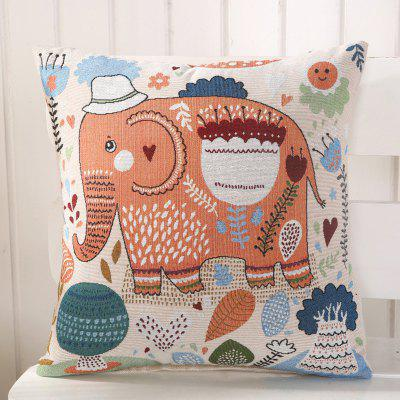 LAIMA BZ003 - 2 Flax Throw Pillow Case Cartoon Elephant Pattern Square Decorative Pillowcase Cushion Cover