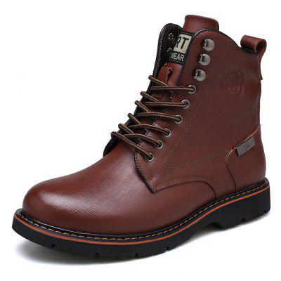 Buy BROWN 44 Men Casual Comfortable Stitching Leather Ankle Boots for $50.91 in GearBest store