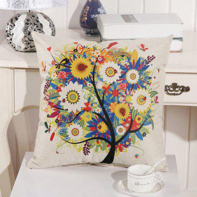 LAIMA BZ002 - 6 Flax Throw Pillow Case Flower Tree Pattern Square Decorative Pillowcase Cushion Cover