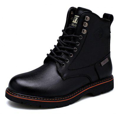 Buy BLACK 39 Men Casual Comfortable Stitching Leather Ankle Boots for $50.91 in GearBest store