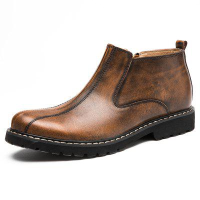 Buy DEEP BROWN 44 Men Side Zipper Stitching Leather Ankle Boots for $48.61 in GearBest store