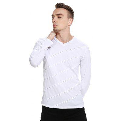 Casual Striped Pattern T-shirtMens Long Sleeves Tees<br>Casual Striped Pattern T-shirt<br><br>Material: Cotton, Polyester<br>Neckline: V Neck<br>Package Content: 1 x T-shirt<br>Package size: 32.00 x 40.00 x 1.00 cm / 12.6 x 15.75 x 0.39 inches<br>Package weight: 0.2900 kg<br>Product weight: 0.2700 kg<br>Season: Autumn<br>Sleeve Length: Long Sleeves<br>Style: Casual