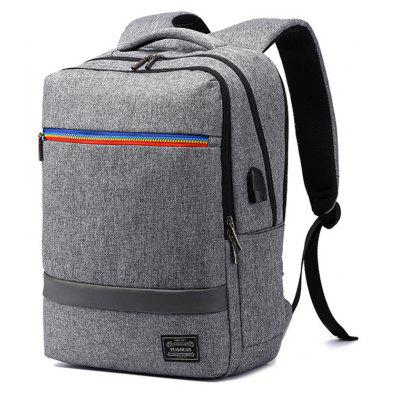 Buy GRAY Trendy Water-resistant Laptop Backpack with USB Port for $42.83 in GearBest store