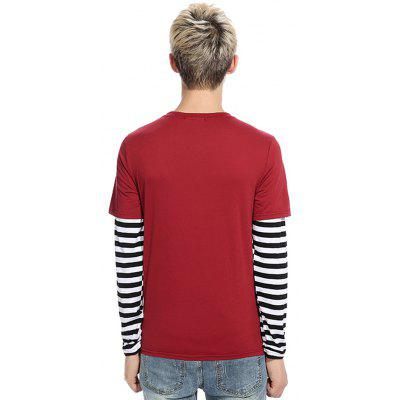 Men Fake Two-piece Design Striped Long Sleeves T-shirtMens Long Sleeves Tees<br>Men Fake Two-piece Design Striped Long Sleeves T-shirt<br><br>Fabric Type: Cotton, Polyester<br>Neckline: Round Collar<br>Package Content: 1 x T-shirt<br>Package size: 32.00 x 40.00 x 1.00 cm / 12.6 x 15.75 x 0.39 inches<br>Package weight: 0.2700 kg<br>Product weight: 0.2700 kg<br>Season: Autumn, Winter<br>Sleeve Length: Long Sleeves