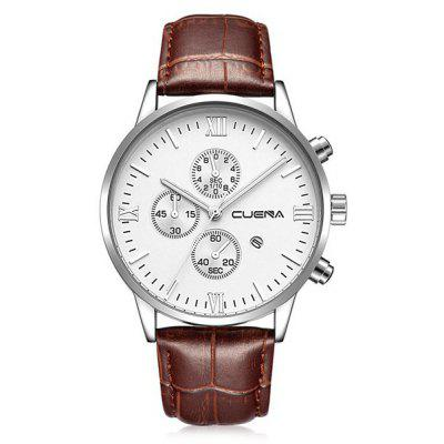 Buy BROWN LEATHER BAND+WHITE DIAL CUENA 6612 Genuine Leather Band Quartz Men Watch for $20.15 in GearBest store