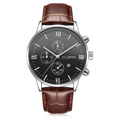Buy BROWN LEATHER BAND+BLACK DIAL CUENA 6612 Genuine Leather Band Quartz Men Watch for $20.15 in GearBest store