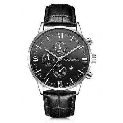 Buy BLACK DIAL + BLACK BAND CUENA 6612 Genuine Leather Band Quartz Men Watch for $20.15 in GearBest store