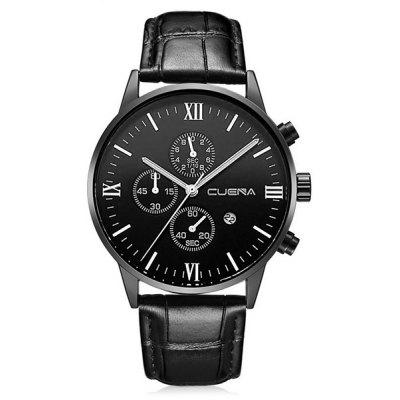 Buy BLACK CUENA 6612 Genuine Leather Band Quartz Men Watch for $20.15 in GearBest store