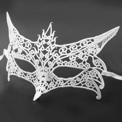 Buy WHITE Fox Design Lace Eye Mask for Halloween Masquerade for $9.00 in GearBest store