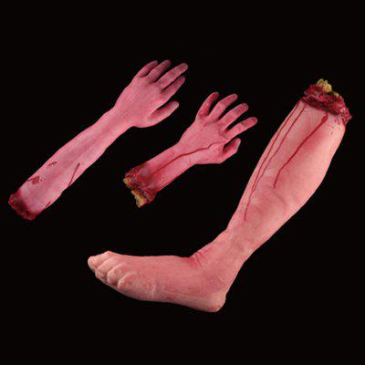 Buy RED Halloween Prop Bloody Arm Hand Leg Tricky Toy 3PCS for $25.78 in GearBest store