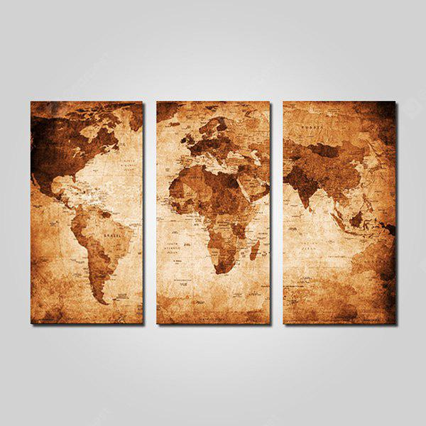 Joy Art Retro World Map Print Framed Canvas Painting 3pcs