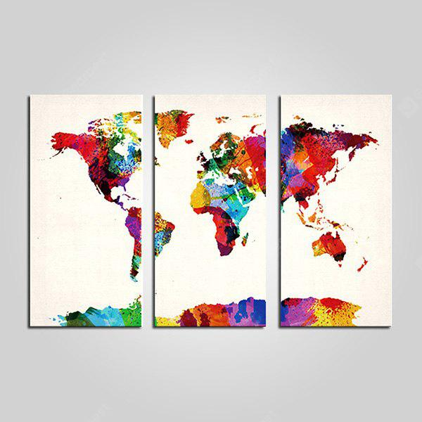 JOY ART Colorful World Map Framed Canvas Print 3PCS - $27.31 Free ...