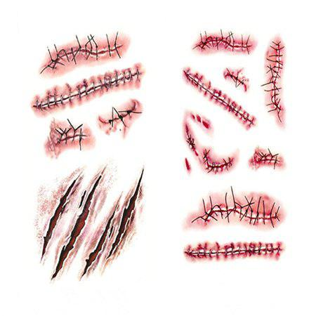 Realistic Tattoo Sticker Bloody Wound Stitch Prop 1PC