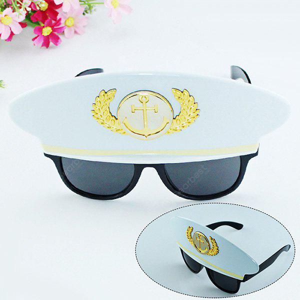Buy Halloween Captain Hat Shape Glasses Toy Prop WHITE