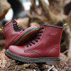 Men Stylish Soft Lace-up Leather Ankle Boots - RED