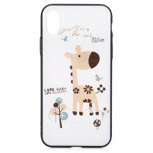 PC Slim Phone Case for iPhone X Giraffe Cartoon Folding Stand