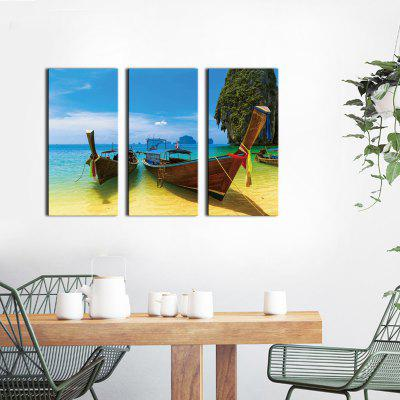Buy BLUE+YELLOW+GREEN JOY ART Seascape Pattern Stretched Canvas Print 3PCS for $43.37 in GearBest store