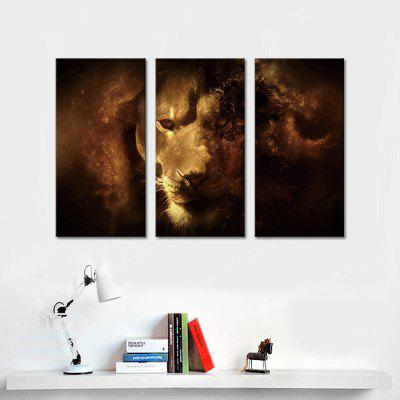 Buy BROWN JOY ART Stretched Lion Canvas Print 3PCS for $43.37 in GearBest store