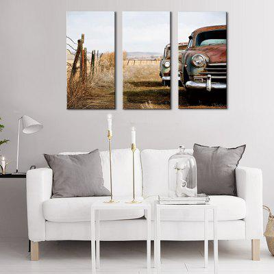 Buy COLORMIX JOY ART Suburbs Car Stretched Canvas Print 3PCS for $43.37 in GearBest store