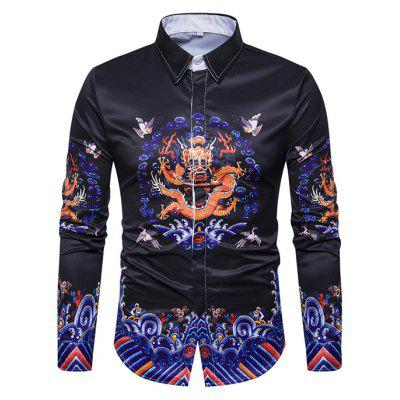 Buy BLACK L Retro Chinese Dragon Printing Shirt for $23.81 in GearBest store