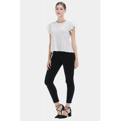 Flounce Sleeves T-Shirt with Bowknot at Back for Women