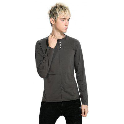 Color Sleeve Men Solid Long Round Collar T fHq5Swq