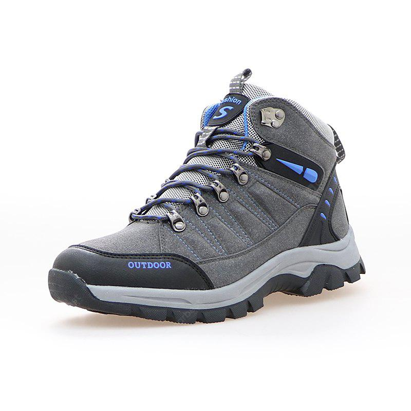 GRAY 41 Lace-up Outdoor Hiking Shoes for Men