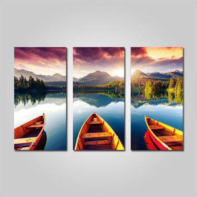 Buy COLORMIX JOY ART Lakeside Scenery Print Framed Canvas Painting 3PCS for $44.23 in GearBest store