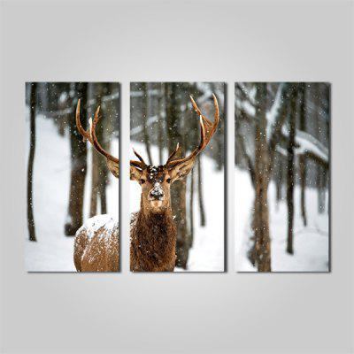 Buy COLORMIX JOY ART A Deer in Snow Print Framed Canvas Painting 3PCS for $44.23 in GearBest store