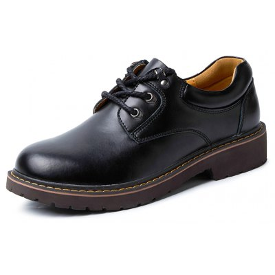 Buy BLACK 41 Men Casual Stitching Lace-up Leather Shoes for $55.02 in GearBest store