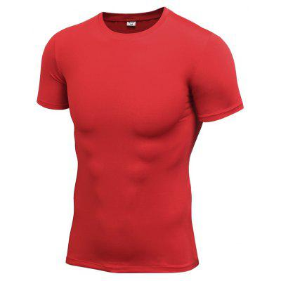 Male Tight Elastic Quick Dry Short Sleeves T-shirt