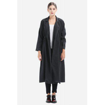 Loose Notch Lapel Drawstring Waist Trench for Women