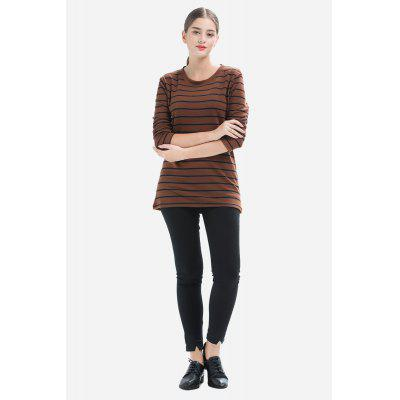 Oversize Pristine Striped Long Sleeves T-Shirt for Women