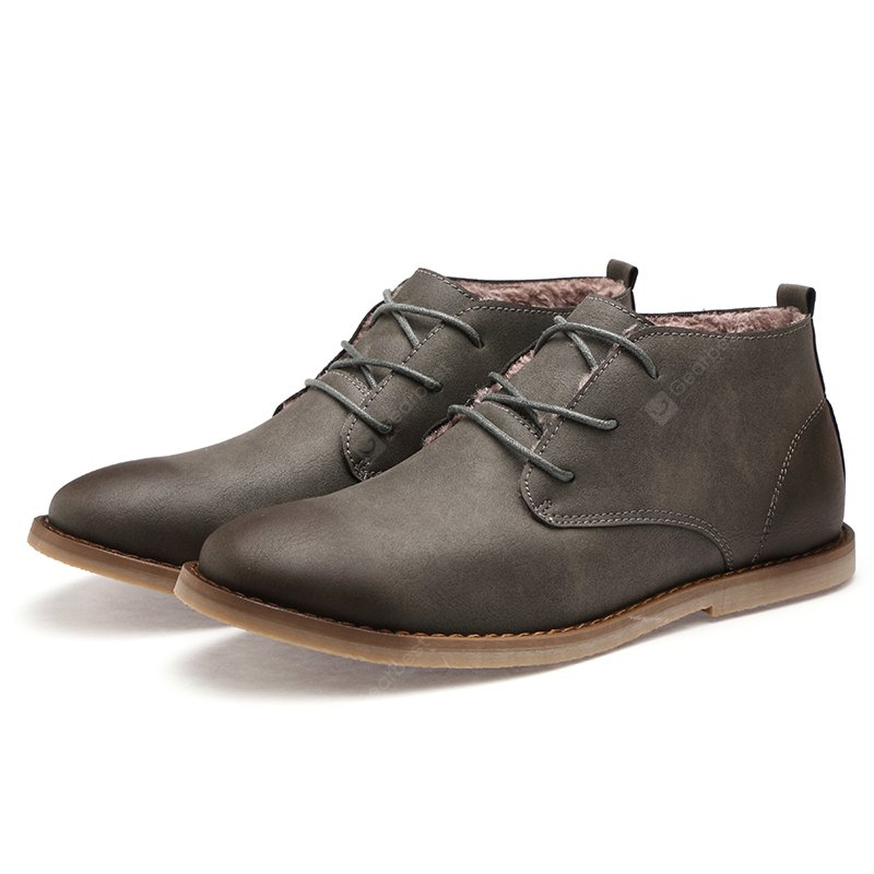 Men Lace-up Tapered Toes Vintage Ankle Boots