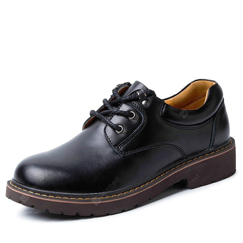 Men Casual Stitching Lace-up Leather Shoes
