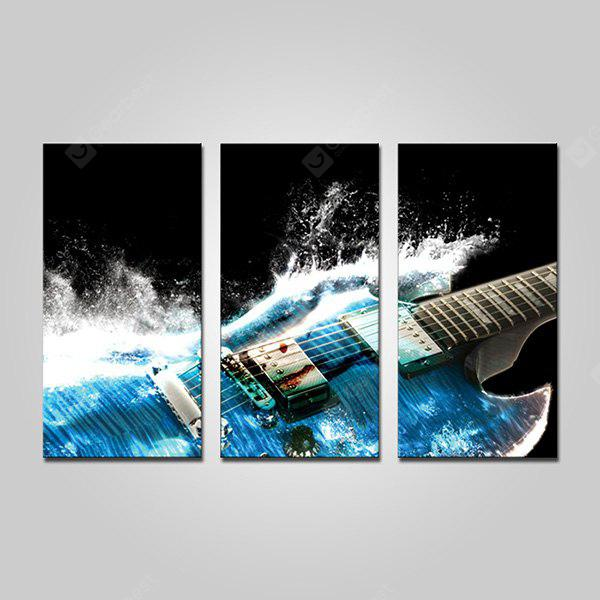 COLORMIX JOY ART Blue Guitar Print Framed Canvas Painting 3PCS