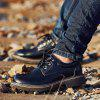 Men Casual Stitching Lace-up Leather Shoes - BLACK