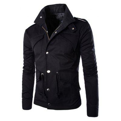 Buy BLACK L Multi-pocket Design British Style Cotton Jacket for $29.54 in GearBest store