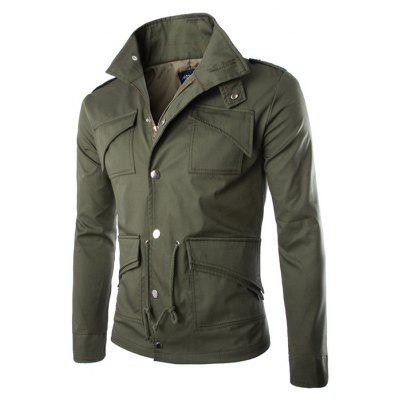 Buy ARMY GREEN L Multi-pocket Design British Style Cotton Jacket for $29.54 in GearBest store