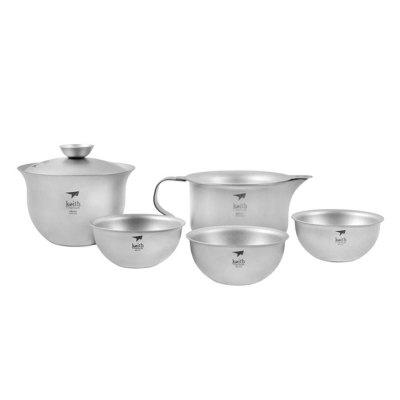 Keith Ti3910 Outdoor Portable Titanium Tea Ware 5PCSCamp Kitchen<br>Keith Ti3910 Outdoor Portable Titanium Tea Ware 5PCS<br><br>Best Use: Camping,Climbing,Hiking<br>Brand: Keith<br>Features: Portable, Easy to use, Durable<br>Material: Titanium<br>Package Contents: 1 x Cover Bowl, 1 x Serving Cup, 1 x Tea Filter, 3 x Tea Cup, 1 x Net Bag, 1 x Clean Sponge<br>Package Dimension: 10.80 x 10.50 x 11.50 cm / 4.25 x 4.13 x 4.53 inches<br>Package weight: 0.3300 kg<br>Product weight: 0.2250 kg<br>Type: Tableware