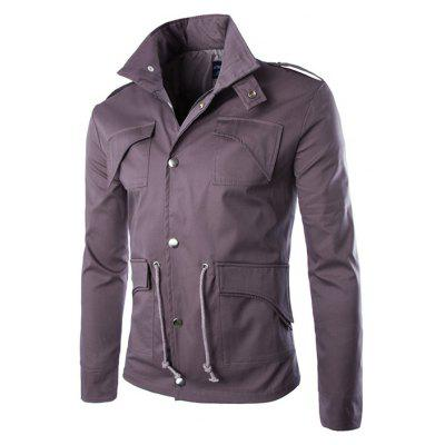 Buy PURPLISH RED 2XL Multi-pocket Design British Style Cotton Jacket for $29.54 in GearBest store