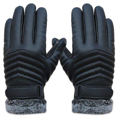 Winter PU Leather Cycling Warm Gloves for Men