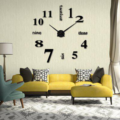 Creative Mirror Effect Decal Number Design Wall Clock