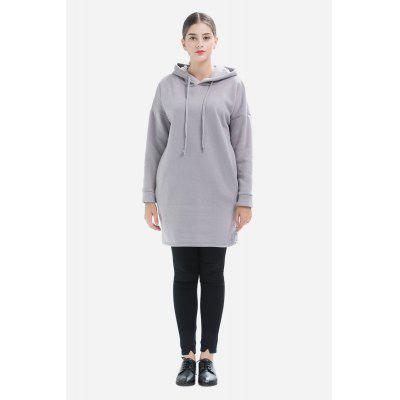 Solid Color Hooded Kimono Sleeves Long Hoody for Women