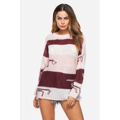 Casual Loose Stripe Round Collar Female Sweater