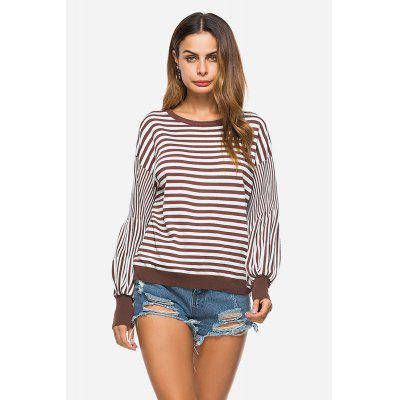 Casual Knitted Stripe Round Collar Female Sweater