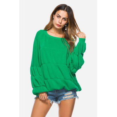 Casual Lantern Style Sleeves Knitted Female Sweater