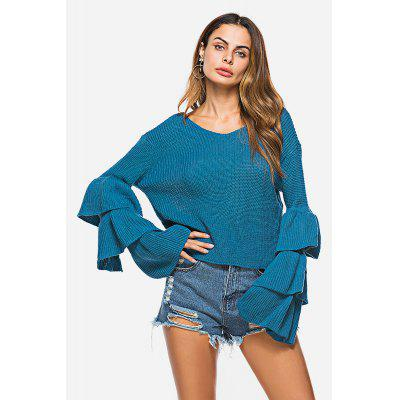 Scoop Neck Long Flared Sleeves Sweater for Women