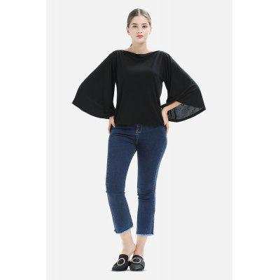 Boat Neck Flare Sleeves Solid Color Elastic T-Shirt for Women