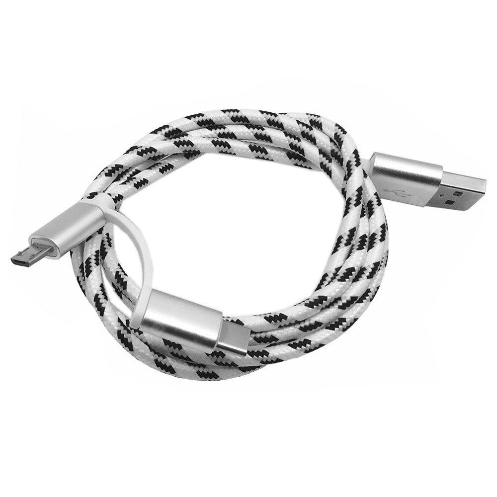 Type-c Interface Grid Pattern Charger Data Cable